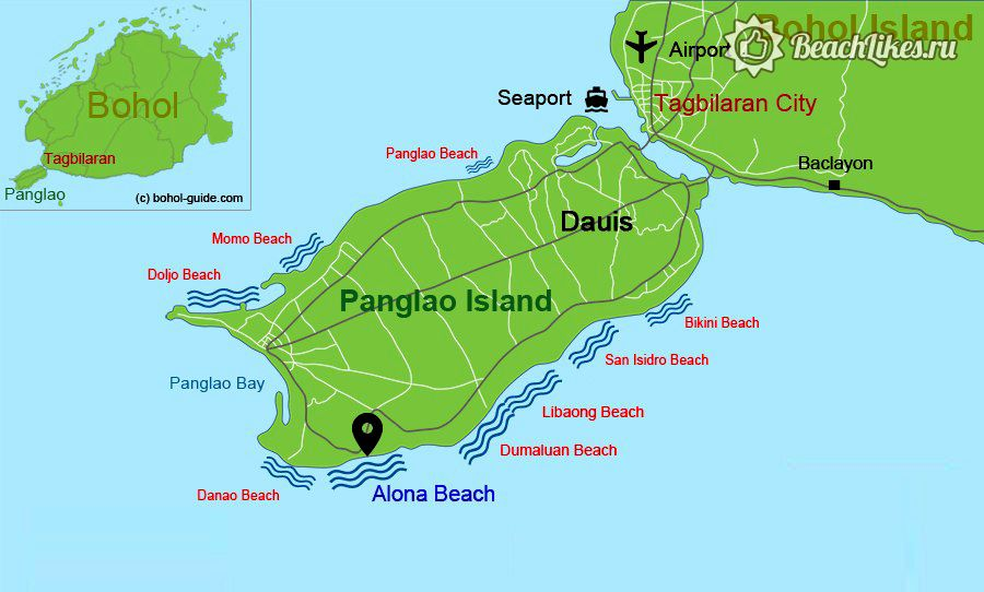 Карта пляжей острова Панглао, Филиппины