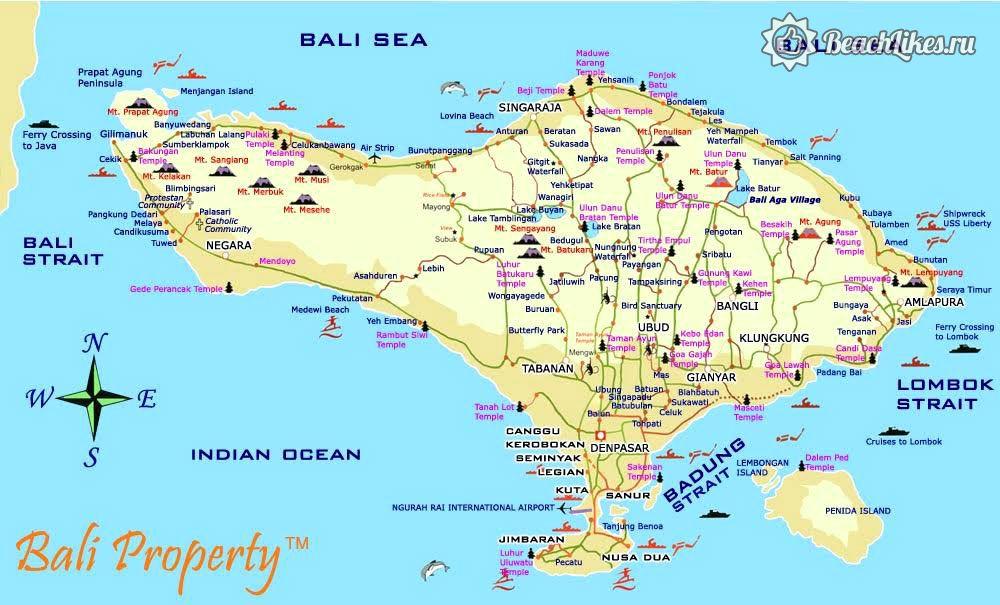 Карта пляжей Бали