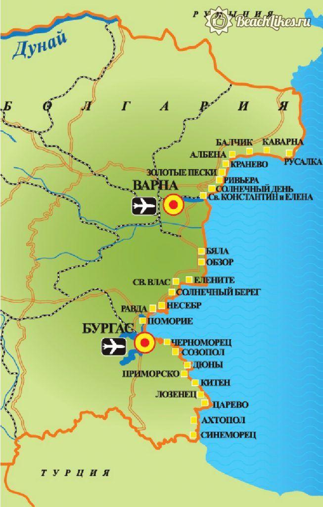 Карта пляжей Болгарии на русском языке