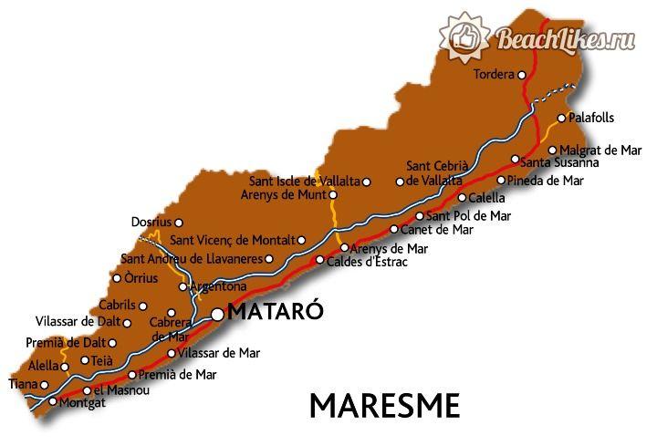 Карта Коста-дель-Маресме