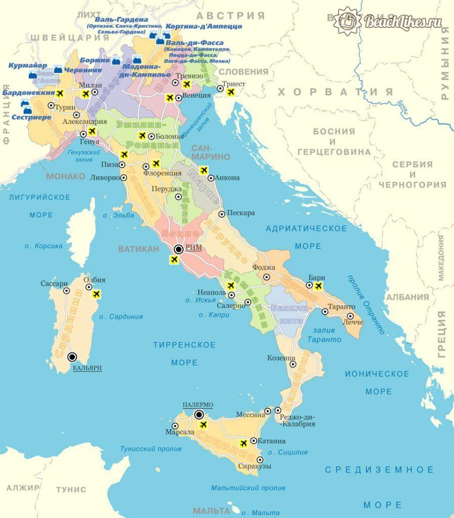 Карта Италии на русском языке