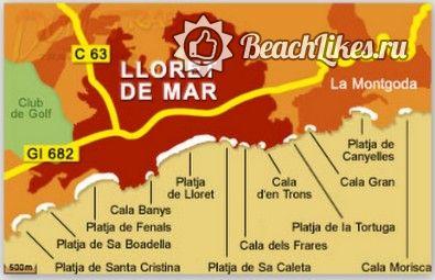 Пляжи Ллорет де мар карта