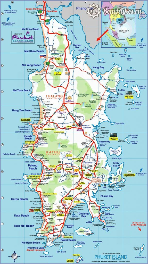 Карта пляжей и курортов Пхукета