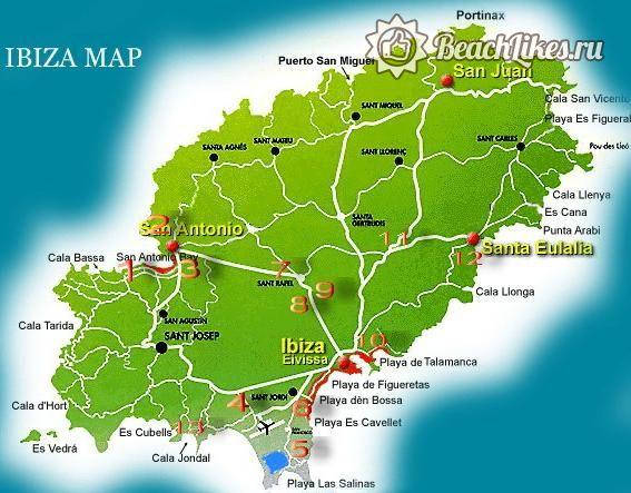 Карта пляжей и курортов Ибицы