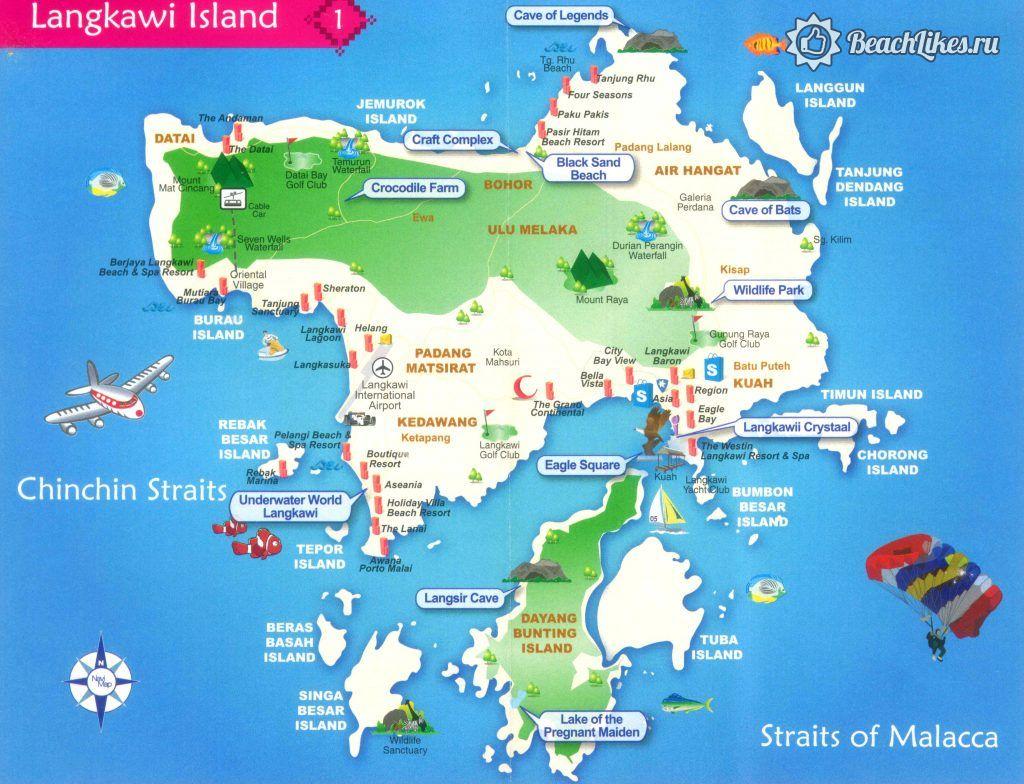 Карта пляжей острова Лангкави в Малайзии