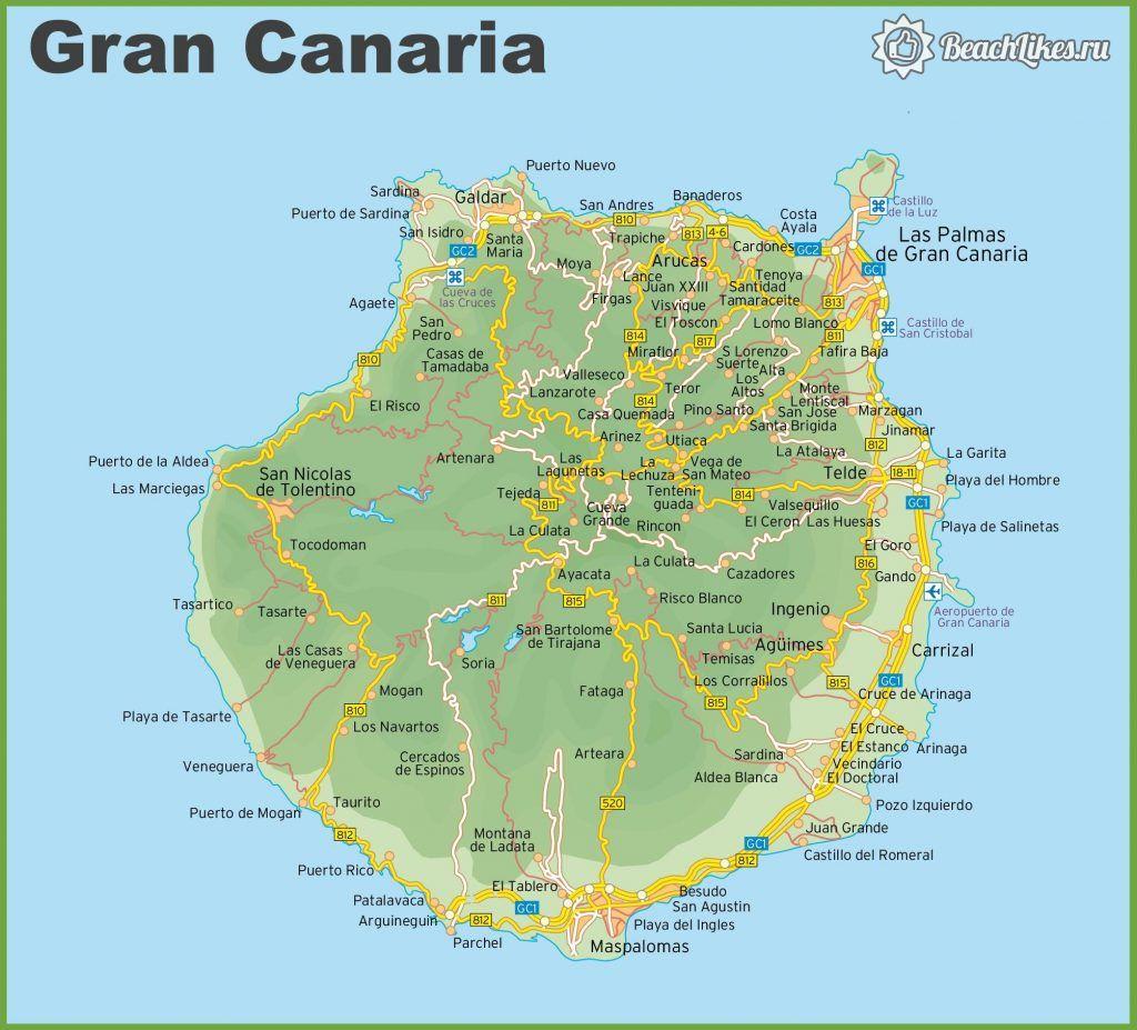 Карта пляжей и городов острова Гран-Канария