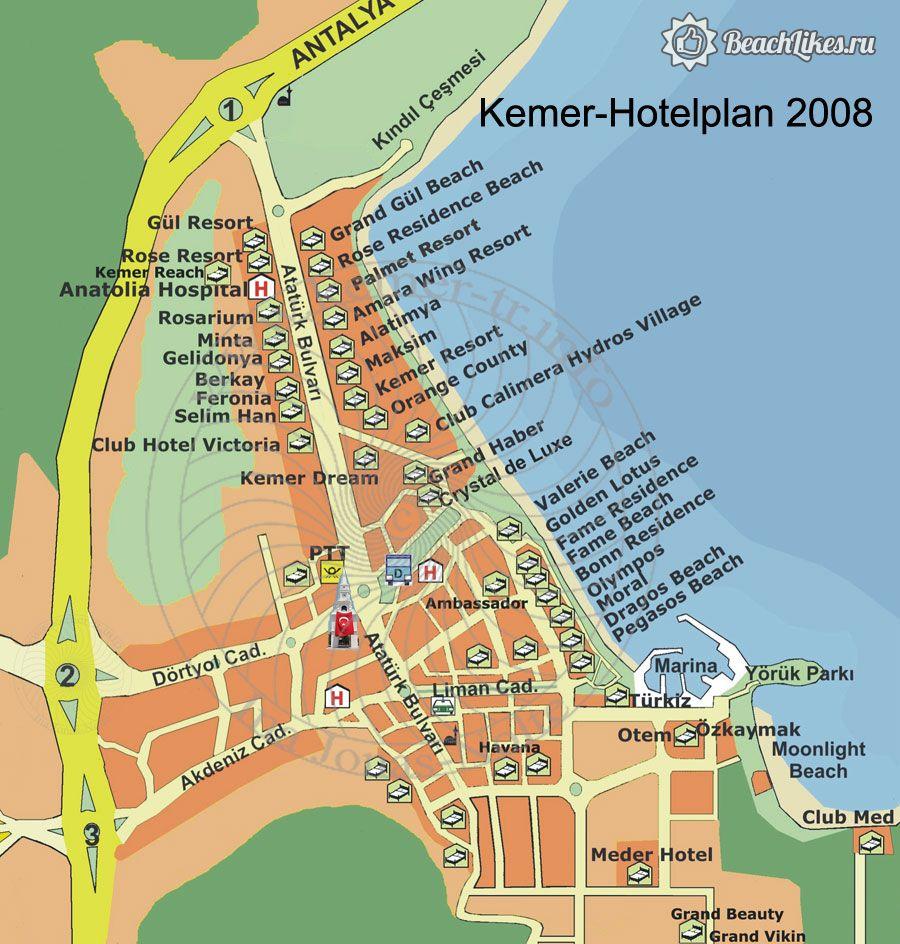 Карта пляжей и отелей Кемера